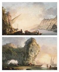 marina con pescatori (+ marina con arco roccioso e figure; pair) by carlo bonavia