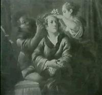 une jeune femme coiffant un homme: les trois ages de la vie? by domenico corvi