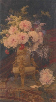 summer flowers in an ormolu mounted vase by aurelio tolosa alsina