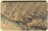 white rain at shono (driving rain at shono; from 53 stations of tokaido) by ando hiroshige