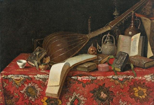 natura morta con libri liuto e tappeto by cristoforo munari