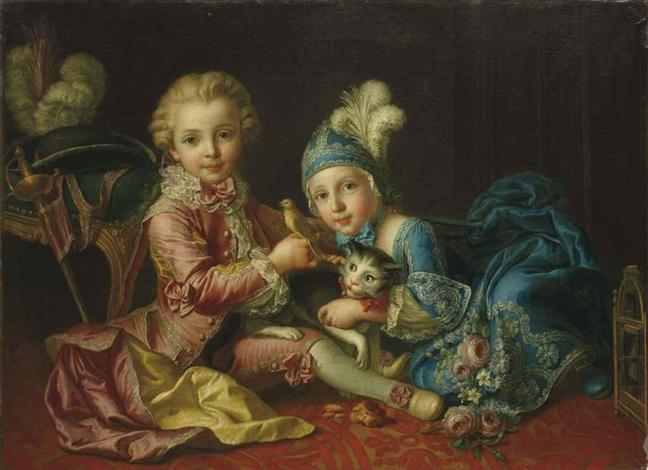 portrait de deux enfants jouant avec un chat et un canari by françois hubert drouais