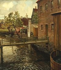 scenery by a canal with a bridge and houses by carl forup