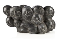 composition of heads and faces and crouching figure by silas aittauq