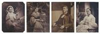 femme assise en extérieur; mère et son enfant; femme à la coiffure fleurie; portrait d'homme (various sizes; 4 works) by jean baptiste frénet