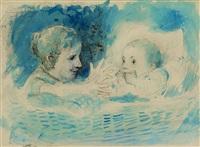 mädchen neben kleinkind in korb by albert anker
