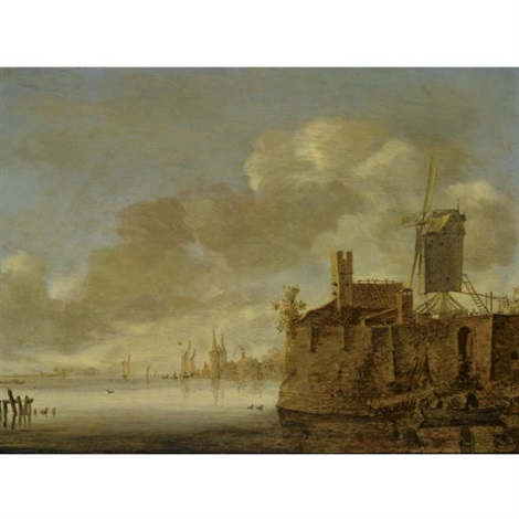 river landscape with a fortified town a windmill on the right bank and a rowing boat with figures in the foreground by frans de hulst