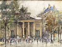 paris, la place chassaigne-goyon, et l'église saint-philippe du roule by georges rose