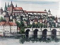 blick auf einen alten stadtkern mit bogenbrücke über einem fluss by hans joachim muller