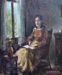 dama leyendo by eduardo amezaga