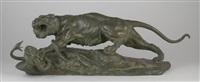 combat de lionne et serpent by antonio amorgasti