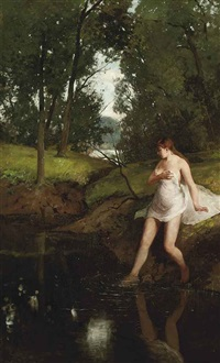 bathing in a forest lake by gerard jan bos