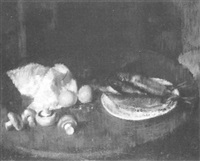 still life with fish, eggs, mushrooms and a napkin on a table by robert henry hurdle