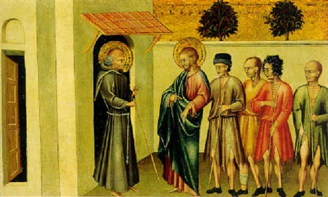 a franciscan saint meeting saint james the greater and pilgrims by giovanni di paolo