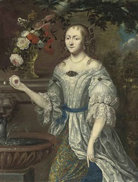 portrait of a lady (madame ninon de lenclos (1620-1705)? in a lace-trimmed blue and gray dress, with roses, narcissi and other flowers... by henri gascars