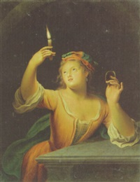 a girl holding a candle by gerard wigmana