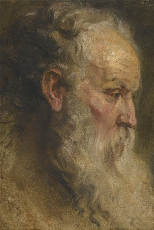 head study of a bearded man by sir anthony van dyck
