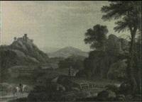 paysage de riviere et de colline avec des voyageurs by olivier le may