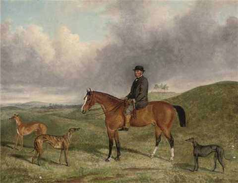 portrait of henry beale esq on a hunter with his greyhounds including quotsamplerquot and quotsapphirequot in an extensive landscape by george henry laporte