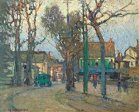 a village street by paul cornoyer