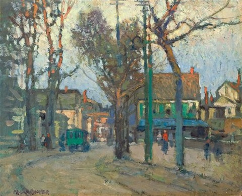 a village street by paul cornoyer