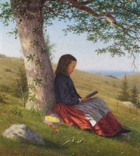 young girl reading by a tree by william moore davis