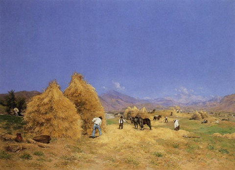 pressing the wheat in provence by etienne philippe martin