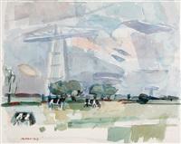 landscape (+ 2 others. lrgr; 3 works) by otto b. de kat