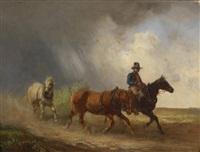 reiter und zwei pferde in landschaft by alois bach