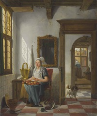 an interior with a woman peeling apples by abraham van stry the elder