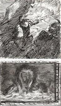 løpende gutt og draug (2 works) by erik theodor werenskiold