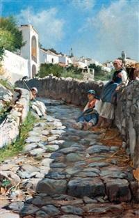 paysannes sur le chemin à ravello sur la côte almafitaine by francesco raffaello santoro