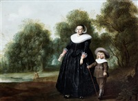 portrait of a lady and her child standing before an open landscape by herman mijnerts doncker