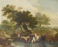 a traveller with cattle and sheep on a country path before ruins (+ horsemen watering their horses at a stream, a young woman crossing footbridge; pair) by charles towne