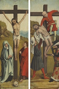 the crucifixion (+ the descent from the cross; wings of a triptych; pair) by french school (15)