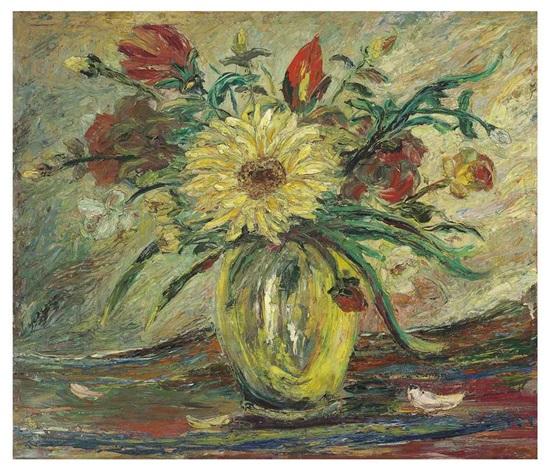 jarrón con flores homenaje a vincent van gogh by joaquín clausell