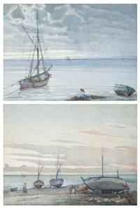 marina con barche e pescatori (pair) by llewelyn lloyd