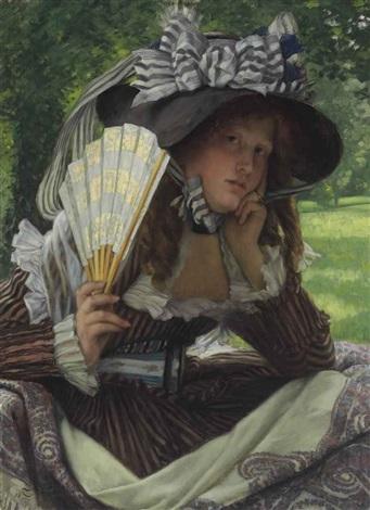 jeune femme à léventail by james jacques joseph tissot