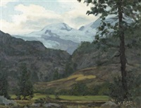 landscape with mountains in the distance by nikos xenos
