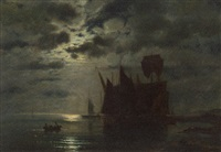 fishing boats in a harbour by moonlight by ferdinand konig