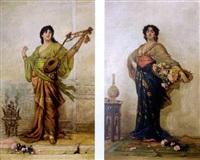 jeune musicienne à la jetée de roses (+ jeune fille au plateau de fleurs; pair) by j.e. hill