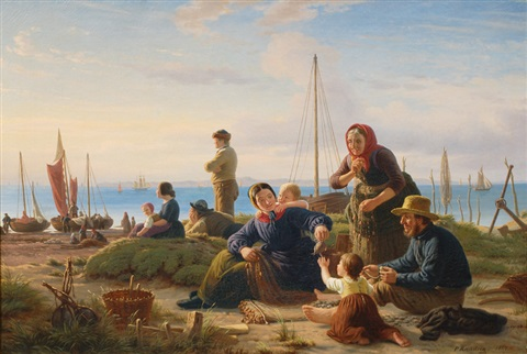 evening on the shore by peter johann p raadsig