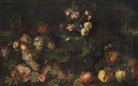 nature morte au bouquet de fleurs, raisins, pommes, poires et grenades dans un paysage by michelangelo di campidoglio