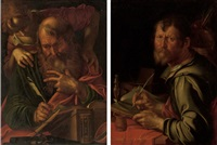 the evangelist matthew (+ the evangelist luke; pair) by joachim anthonisz wtewael