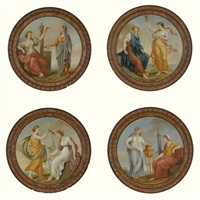 classical figures, possibly representing the four seasons (4 works) by antonio zucchi