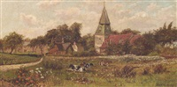 cattle grazing on bexley heath by whyte w. holdich