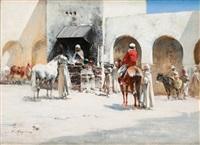 cavaliers sur la place du village by victor pierre huguet