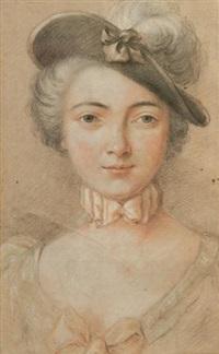 portrait de jeune femme au chapeau et aux noeuds roses by jean-martial fredou