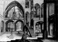 intérieur de cathédrale gothique avec le pape adriaen vi en prière by hendrick aerts