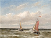 two ships on a stormy sea by gerard van der laan